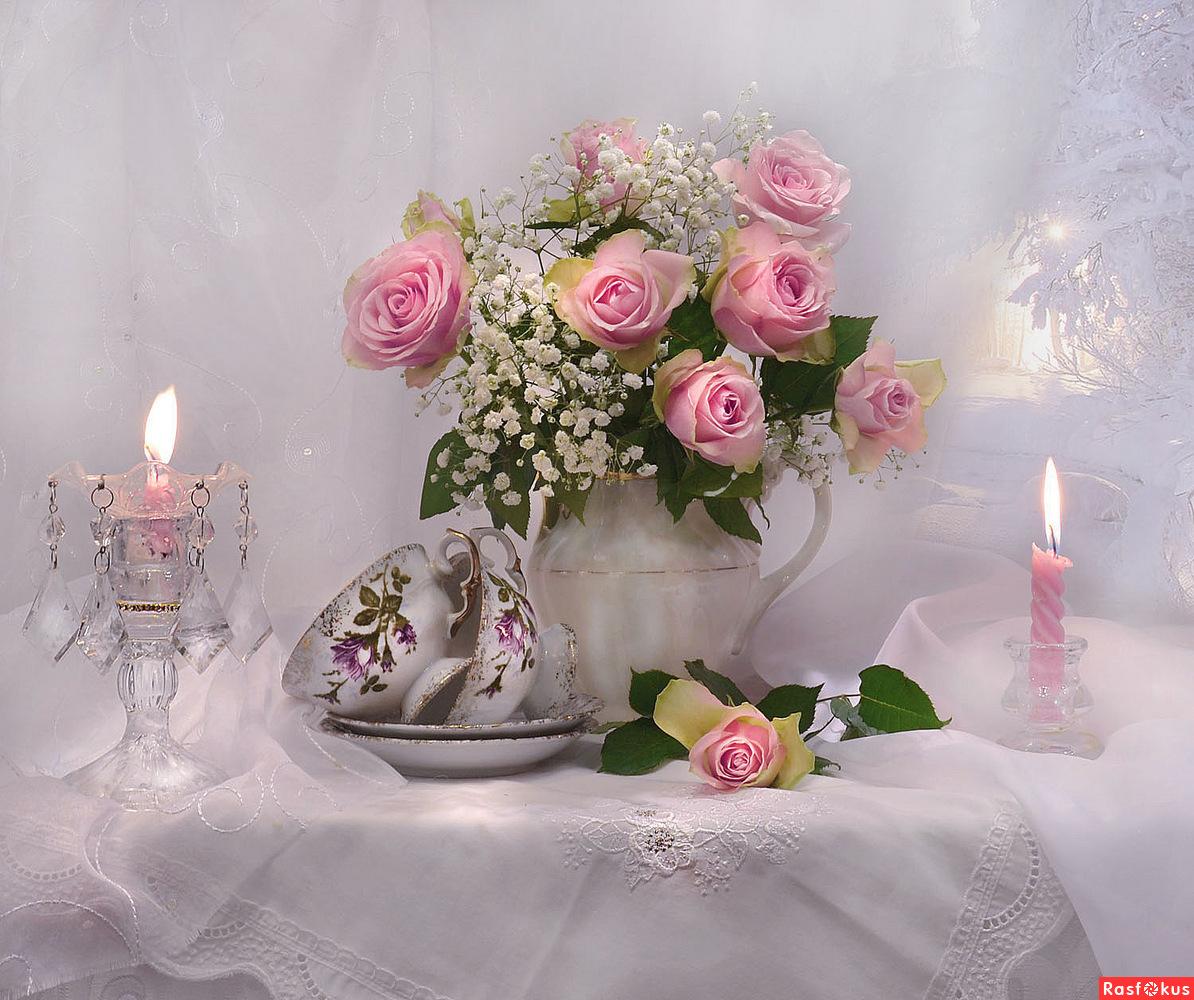 ...букет из роз на День рождения...