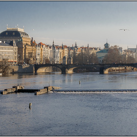 Gulls & National Theatre. Lite. Prague.Czech Republic