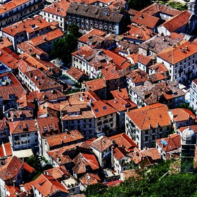 Red roofs of houses in Montenegro