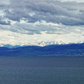 View over the 'Bodensee' (Lake Constance) on the SÄNTIS in 'Eastern Switzerland' ...