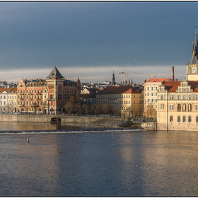 Christmas morning on the Vltava. Prague.Czech Republic