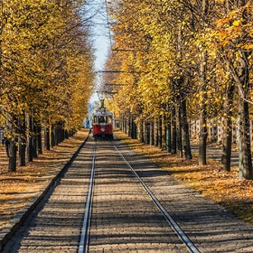 old tram in autumn Prague