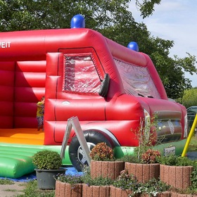 a fire truck as a bouncy castle