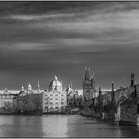 Karluv Most BW Christmas morning. Prague.Czech