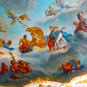 "Ceiling painting in the rooms of the ""Catherine Palace"" ..."