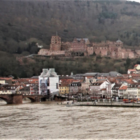 "Currently, HEIDELBERG, the ""Old Bridge"" at high water...."